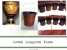 Greek Inspired Vases using magic markers and seed starter pots from the #Dollartree