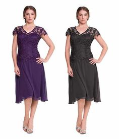cheap plum and black knee length plus size mother of the bride / groom dresses