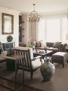 Good Layout for Living Room. Brown Leather Sofa Design, Pictures, Remodel, Decor and Ideas