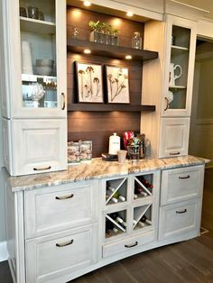 coffee station with shelves in kitchen