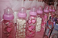 pink ballet ballerina baby shower dessert table baby bottle filled with candy