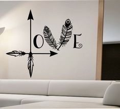 nice Arrow Feather Love Wall Decal namaste Vinyl Sticker Art Decor Bedroom Design Mural home decor room decor trendy modern Sticker Art, Wall Stickers, Wall Decals, Wall Mural, Wall Art, Arrow Feather, Arrow Decor, Graphisches Design, Home Decor Bedroom