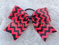 2.25 Width Cheer Bow Red and Black Chevron 6x5 Jumbo Size Cheer by JustImagineThatBows