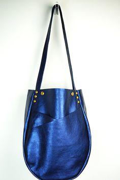 Metallic Leather Tote Bag Midnight Blue/Metallic by NeroliHandbags