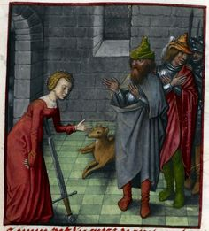 Detail of a miniature of Lucretia committing suicide in front of her family (and an attentive dog), Harley MS 4425, f. 79r - See more at: http://britishlibrary.typepad.co.uk/digitisedmanuscripts/#sthash.1BW16R3h.dpuf