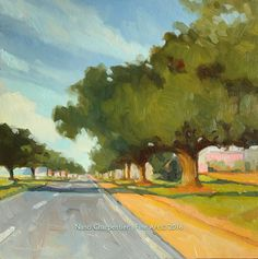 """Hwy. 190, Heading West; Oil Painting, 10"""" x 10"""", Oil on Cradled Birch Panel by NanciCharpentierArt on Etsy"""