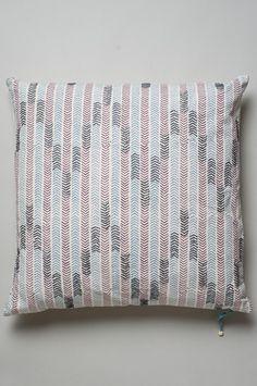 Chowpatty Cushion - Anjeer Lilac, Neel Blue & Hathi Gray/ Seema Krish