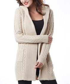 Love this Beige Cable-Knit Hooded Wool-Blend Open Cardigan on #zulily! #zulilyfinds