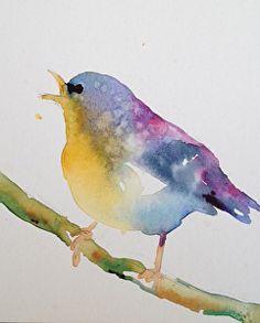 Squawking bird by Yvonne Joyner Watercolor ~  x