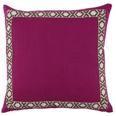 D949 Lacefield Incite Linen 24x24 Pillow with Camden Tape  www.lacefielddesigns.com #pink #pillows #interiors #lacefielddesigns
