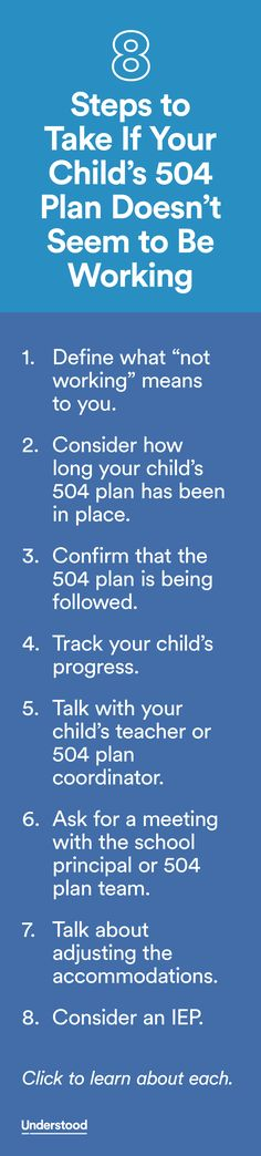 Are you concerned your child's 504 plan isn't working? Sometimes 504 plans need to be adjusted to better serve your child and help her make progress.