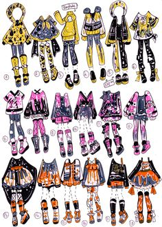 CLOSED-Splatoon inspo outfits by Guppie-Vibes on DeviantArt Drawing Anime Clothes, Manga Clothes, Fashion Design Drawings, Fashion Sketches, Art Drawings Sketches, Cute Drawings, Character Outfits, Character Art, Clothing Sketches
