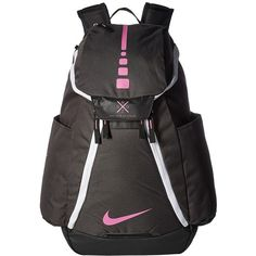 Nike Hoops Elite Max Air Team Backpack (Anthracite/Black/Pink Fire)... ($85) ❤ liked on Polyvore featuring bags, backpacks, strap backpack, nike knapsack, lightweight daypack, day pack backpack and water bottle backpack