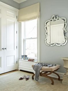 Sweet and Subtle - Beautiful Bedrooms: 15 Shades of Gray on HGTV...love the little window seat...maybe for E's room?