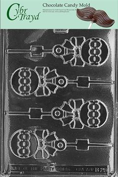 cybrtrayd b028 rattle lolly chocolate candy mold with exclusive cybrtrayd copyrighted chocolate molding