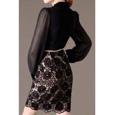 Elegant V-Neck Lantern Sleeve Embroidered Dress For Women - L