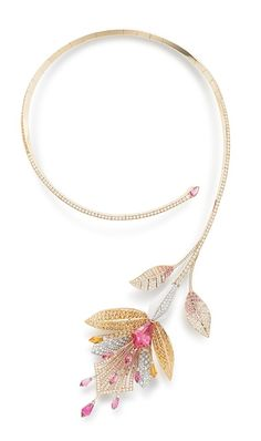 "Boucheron, ""Bleu de Jodhpur"" Collection, ""Fleur de lotus"" necklace, tourmalines, spessartites, diamonds"