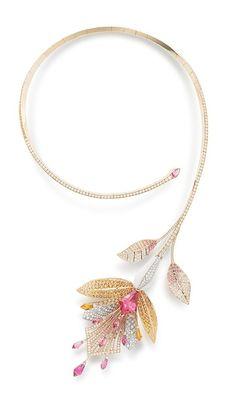 """Boucheron, """"Bleu de Jodhpur"""" Collection, """"Fleur de lotus"""" necklace, tourmalines, spessartites, diamonds"""