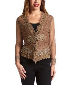 Another great find on #zulily! Brown Paisley Silk-Blend Bolero - Women #zulilyfinds