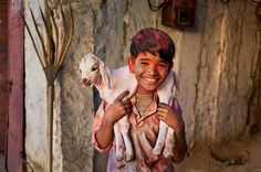 Steve McCurry :: Young Shepherd during Holi, Rajasthan, India