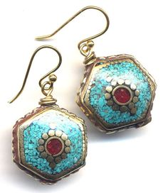 Nepal EarringsTibet Turquoise Coral Earrings Tibet by Annaart72, $35.00