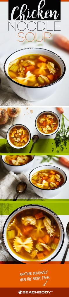 Whether you're coming down with a cold or simply craving a comforting bowl of soup to warm you in winter, you can count on good old chicken noodle soup to hit the spot. // chicken // chicken recipes // soup // hot soup // winter food // comfort food // Beachbody // BeachbodyBlog.com
