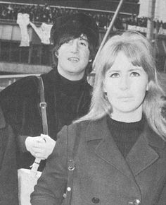 John and Cynthia Lennon (Cynthia's peacoat became the rage)