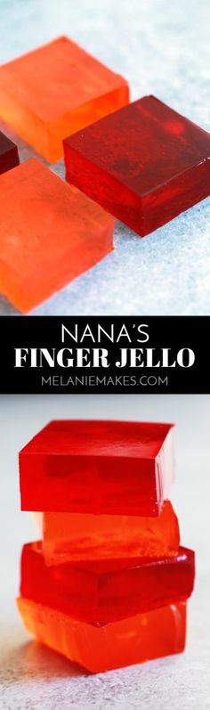 Nana's Finger Jello is possibly the easiest - and ask my menagerie, the most del. Jello Desserts, Jello Recipes, Best Dessert Recipes, Candy Recipes, Delicious Desserts, Snack Recipes, Jello Salads, Snacks, Recipies