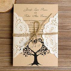 Cheap Rustic Love Tree Lace Pocket Wedding Invitations
