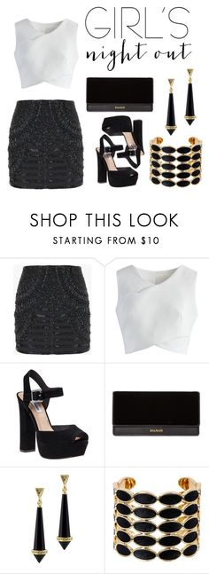 """""""Girls night out"""" by marce104 ❤ liked on Polyvore featuring Balmain, Chicwish, Steve Madden, House of Harlow 1960 and girlsnightout"""