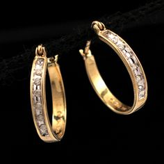 Shop 10ky Diamond Hoop Channel Set Earrings and other jewelry, art, coins, rugs and real estate at www.aantv.com