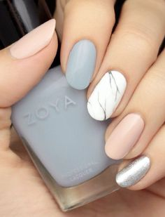 Marble nails - I love the grey