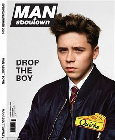 Brooklyn Beckham, 15, poses for Man About Town magazine - in his first-ever cover shoot.  (March 2014)