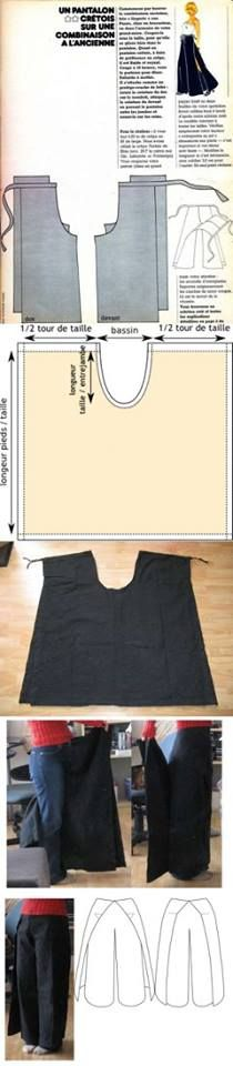 Agulha de ouro Ateliê: Que tal pantalona? Dá para fazer uma a partir de uma saia godê ou a partir de um molde de calça