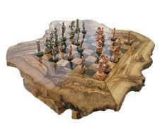 Schachspiel : Holz Schach / Olivenholz Schach / von wodenCraftGift