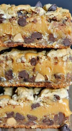 Peanut Butter Caramel Toffee Chocolate Chip Cookie Bars. These look amazing