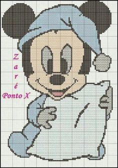 Mickey Mouse x-stitch Cross Stitch Baby, Cross Stitch Kits, Cross Stitch Designs, Cross Stitch Patterns, Disney Quilt, Pixel Crochet, Baby Mickey Mouse, Crochet Diagram, Mickey And Friends