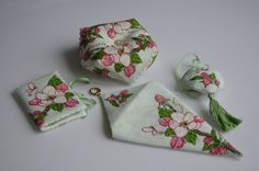 Faby Reilly - Apple Blossom Collection - Scissor Case and Needlebook Fabric - Belfast 32 ct Vintage Green Threads - DMC Beads - MillHill