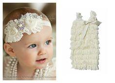 Ivory petti lace romper and headband SET, petti romper,baby headband, flower headband,vintage inspired headband and lace petti romper. $24.90, via Etsy.