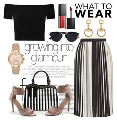 """""""office off-the-shoulder"""" by styleability on Polyvore featuring Topshop, Alice + Olivia, Lands' End, Michael Kors, Gucci, Christian Dior and Smashbox"""