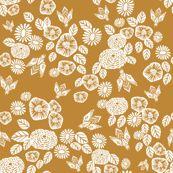 bee garden - spring flowers florals mustard yellow vintage style flowers by andrea_lauren