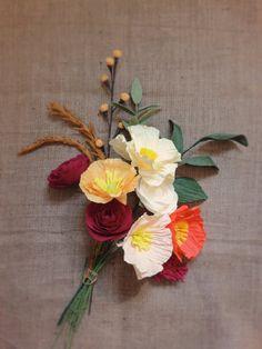 Penelope Bouquet: Dozen Crepe Paper Flowers {Poppies, Ranunculus, Globe Amaranthus, Berries, Spire, Greens}