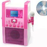 CDG Karaoke Machine + Camera (watch yourself on TV + make a Video DVD), Kids Pink  White Wired Microphone, Graphics CD - Uses CD+G CD with Graphics, also a CD Player (Use on its own or connect to a separate TV) - Girls Night In Range - PINK - NEW COLOUR SCREEN + MP3 iPod iPhone link