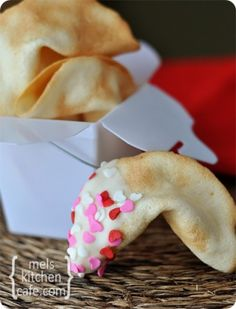 Homemade Fortune Cookies...think up a cute Valentines message for inside!