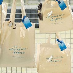 Let the adventure begin at your destination or beach wedding when guests receive one of these 100% cotton canvas tote bags personalized with the bride and groom's name and wedding date separated by a heart and printed in your choice of 5 print color options. Perfect as wedding welcome bags or as gifts for the members in your wedding party. These tote bags can be ordered at http://myweddingreceptionideas.com/aqueous_personalized_tote_bags.asp