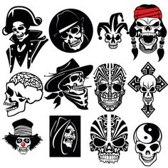Amazing skull vector set