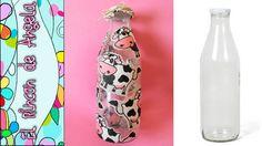 DIY Como hacer decoupage con tela sobre cristal Easy Diy Crafts, Water Bottle, Make It Yourself, Blog, Handmade, Youtube, Recycle Plastic Bottles, Recycled Bottles, Decorated Bottles