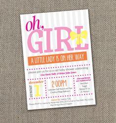Baby Shower Invitation. Its a Girl. Baby Girl Baby Shower. DIY Invite