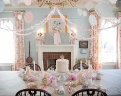 alamode: Gorgeous Vintage Princess Party! Hang doilies, long gloves as favors, make fancy paper fans with lace