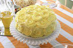 Cake - Flowers - Yellow - DIY Flower Piping - Dwellings By DeVore: Rosette Cake Tutorial - Pretty Cakes, Cute Cakes, Beautiful Cakes, Rosette Cake Tutorial, Mini Cakes, Cupcake Cakes, Cupcake Ideas, Just Desserts, Dessert Recipes